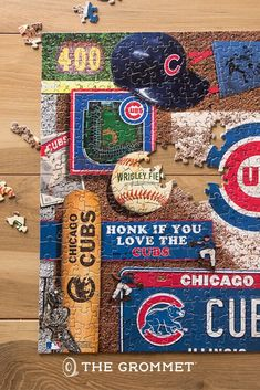 Celebrate your favorite team through the years with this retro puzzle. Packed full of memorabilia, vintage programs, bobbleheads, and other classic items, they're a fun glimpse back in time at the history of your team. Snag it for your favorite sports fan for Father's Day! Personalised Gifts Diy, Diy Gifts, Great Gifts For Dad, Gifts For Him, 500 Piece Puzzles, Bobble Head, Winter Time, Animal Drawings, Cubs