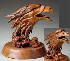 Gorgeous Eagle - 2011 Competition Artistry In Wood Orlando Villareal Tree Carving, Wood Carving Art, Wood Carvings, Tree Sculpture, Animal Sculptures, Wood Carving Patterns, Art Carved, Wood Creations, Wooden Art