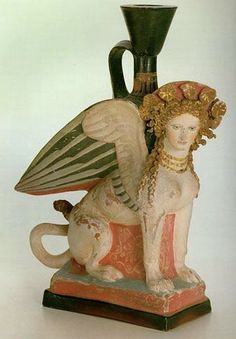 Lekythos in the Form of Sphinx. Bottle for oil perfume. Late 5th century BC. Greek.  The Hermitage Museum