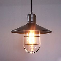 60W Modern Pendant Light with Metal Frame and Shade in Old Factory Style – USD $ 149.99