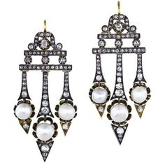 Victorian Diamond Natural Pearl Earrings ($13,945) ❤ liked on Polyvore featuring jewelry, earrings, victorian jewelry, pearl earrings, pearl diamond jewelry, diamond earrings and pearl jewellery