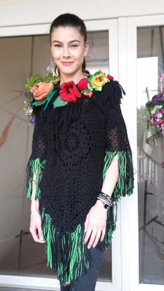 Poncho/Blouse/Tunic/Handmade /Bohemian by AnnesMagicCrochet Black Poncho, Tunic Blouse, Hand Crochet, Bohemian, Wool, Studio, Unique, Sleeves, Handmade