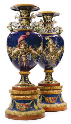 A monumental pair of Italian majolica baluster shaped vases on pedestals Italy, late century raised on painted cast stone bases, each vases signed Ginori in underglaze blue to the underside height overall 5 ft 4 in. Urn Vase, Italian Art, Pottery Art, Art Forms, 19th Century, Art Decor, Modern Art, Old Things, Design