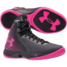 These under armour pink and black women's basketball shoes love them