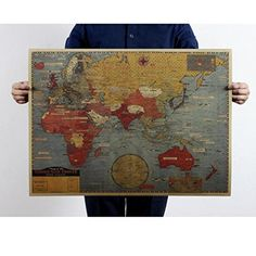 LEERYA Vintage Retro Print Map Kraft Paper Antique Poster Wall Decor 69515CM -- For more information, visit image link.