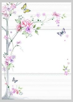 """""""Floral"""": """"Cherry Blossoms & Butterflies"""" letter pad, designed by Victoria Nelson Borders For Paper, Borders And Frames, Art Carte, Paper Frames, Decoupage Paper, Stationery Paper, Floral Border, Note Paper, Writing Paper"""