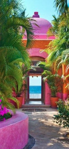 Love the colors. Casa del Domo Villa at the Las Alamandas beach resort in Costalegre, Jalisco, Mexico Dream Vacations, Vacation Spots, Italy Vacation, The Places Youll Go, Places To See, Beautiful World, Beautiful Places, Halls, Mexico Travel