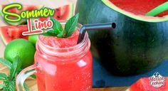 Ein süßes Sommergetränk ganz ohne zugesetzten Zucker!Davon kriegt man nicht genug 🙂Rezept –> Limo, Watermelon, Salsa, Jar, Fruit, Cooking, Food, Alcoholic Beverages, Summer