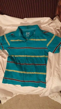 THE CHILDREN'S PLACE BOYS POLO SHIRT SIZE M 7 / 8 STRIPED blue green brown #TheChildrensPlace #Everyday