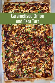 Flaky golden pastry, sweet caramelised onions, and delicious salty cheese combine in this wonderful savoury onion and feta tart. An easy, tasty family dinner! Kosher Recipes, Tart Recipes, Veggie Recipes, Lunch Recipes, Easy Dinner Recipes, Beef Recipes, Cooking Recipes, Icing Recipes, Broccoli Recipes