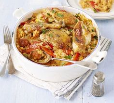 Chicken & chorizo rice pot: A one-pot chicken casserole for sharing, flavoured with Spanish sausage and slow-cooked with rice - an alternative paella