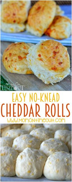 These delicious cheddar rolls are so easy to prepare and require no kneading for us busy moms!  You're going to love the super-cheesy taste that goes perfectly with any meal! | MomOnTimeout.com
