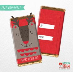 24 days of holiday printables / happy happy art collective /candy wrapper / muffin grayson Holiday Candy, Christmas Candy, Holiday Fun, Christmas Foods, Winter Christmas, Christmas Ornaments, Chocolate Bar Wrappers, Candy Bar Wrappers, Free Christmas Printables