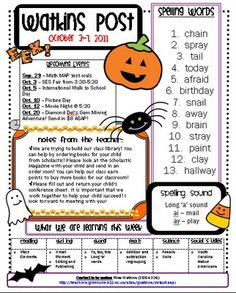 A Halloween-themed newsletter template.  Lots of other templates for spring, holidays, etc.