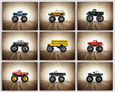 Monster Trucks photo prints set of 9 Nursery Decor by Saint and Sailor Studios on Etsy