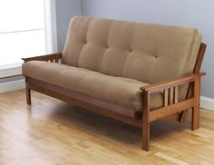 "Kodiak Furniture Eldorado ""Medium Brown Finish"" Frame w/ Suede Peat Futon Mattress 8 Inch"