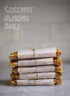 "A simple tasty recipe for Coconut Almond Bars, similar to ""Kind Bars"". Gluten Free, sugar free, sweetened with honey. Coconut Recipes, Gluten Free Recipes, Diabetic Recipes, Vegan Recipes, Snack Recipes, Paleo Granola Bars, Homemade Muesli Bars, Homemade Kind Bars, Tupperware"