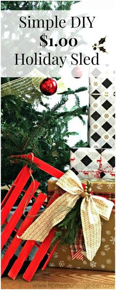 Only $1!! How cute. Love this Simple DIY Christmas Sled Decor.