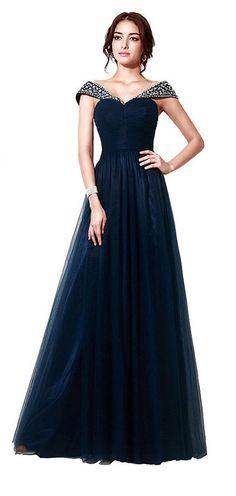 2b219c23f50 Robe de soirée bleu marine longue princesse épaule dénudé orné de strass