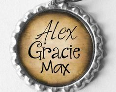 Children's Names Bottle Cap Keychain for Father's Day on Etsy, $11.00