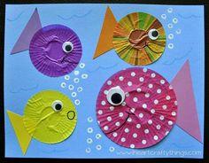 Fish craft made from cupcake liners ... this should be fun; cupcake liners are EVERYWHERE in Japan.