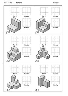 Ejercicios de Vistas y perspectivas. Alzado izquierdo. Piezas simples. Drawing Skills, Drawing Lessons, Drawing Techniques, Orthographic Projection, Orthographic Drawing, Isometric Drawing Exercises, Isometric Art, Pixel Art, Interesting Drawings