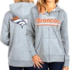 Denver Broncos Women's Full Zip Hoodie – Gray
