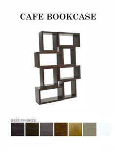 The Cafe #Bookcase from ADRIANA HOYOS is available in Grafito, Dark Seike, Mink, Medium Seike, Caramel, Champagne and White finish. #contemporary #modern #furniture
