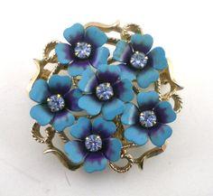 Avon Blue Enamel Flower Brooch Pin Pendant Vintage by paleorama, $18.00