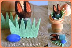 Easter/ Spring Bunny Playset in wooden egg Waldorf by MamaWestWind
