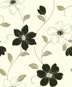 Anouska Black (871101) - Arthouse Wallpapers - A modern contemporary floral trail, drawn in pale brown with black and cream flowers set on a blown vinyl plaster effect textured background. Co-ordinating plain available. Please request sample for true colour match.