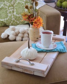 Build a rustic tray with this easy DIY tutorial and cozy up with some hot chocolate and a warm blanket this season.  Awesome project for thePower Tool Challenge - see lots more east fall power tool DIYs linked in this post.