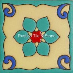 TS 137 Ceramic tile with a floral aqua print.