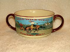 Wild Wild West Double Handle Mug Cowboy Soup Bowl Chili Retro Western Russ New #Russ