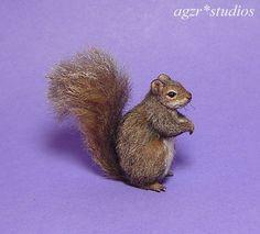 OOAK 1:12 Dollhouse Miniature Squirrel Grey Animal Pet Furred Handmade Realistic