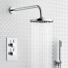 MODEL:Concealed Shower Kits-4-200mm Round Wall Mounted Head, Handheld & Thermostatic Mixer Shower Kit