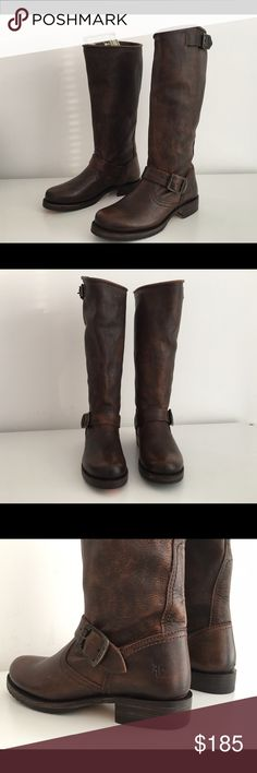 """FRYE VERONICA SLOUCH TALL MOTO BOOTS IN DARK BROWN FRYE VERONICA SLOUCH TALL MOTO BOOTS IN DARK BROWN LEATHER, SIZE 5.5, HEEL 1"""", SHAFT 11"""", CIRCUMFERENCE 14"""", PULL-ON, RUBBER SOLE, BRAND NEW WITHOUT BOX Frye Shoes Ankle Boots & Booties"""