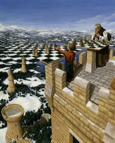 Canadian artist Robert Gonsalves has taken his passion for the work of Salvador Dali and Rene Magritte to the next level with these surreal optical illusions. Optical Illusion Paintings, Amazing Optical Illusions, Art Optical, Illusion Kunst, Illusion Art, Canadian Painters, Canadian Artists, Robert Gonsalves, Rene Magritte