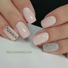 100 Gorgeous Nail Art Ideas Design for An Alluring Beautiful Outfits #Naildesigns Hair And Nails, Baby Pink Nails, Silver And Pink Nails, Blush Pink Nails, Pink Sparkly Nails, Nail Pink, Soft Nails, Light Pink Nails, Silver Glitter