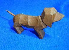Vintage German Wood Carved Miniature Dachshund Dog Figurine / Figure #AS6