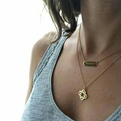 engravable bar and clover initial charm. stella & dot. engraved necklace. www.stelladot.com/kzb
