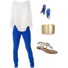 Royal Blue Skinny Jeans, just bought them, trying to figure out how to wear them! Outfits Blue Jeans, Blue Pants Outfit, Sporty Outfits, Simple Outfits, Pretty Outfits, Summer Outfits, Cute Outfits, Fashion Outfits, Royal Blue Jeans