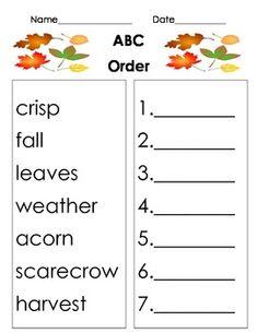 Word Work Center** ABC Order Worksheet Set {Reading Program ...