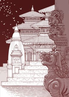 Pray for Nepal. The beautiful Durbar Square have been destroy by earthquake. For memory. Temple Drawing, Nepal Art, Nepal Culture, Ancient Chinese Architecture, Temple Design, Indian Art, Art Inspo, Illustration Art, Illustrations