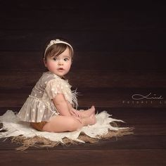 Lace set baby girl sitter prop mini dress and Baby Girl Photos, Baby Pictures, Newborn Outfits, Baby Boy Outfits, Kids Outfits, Baby Monat Für Monat, Baby Christening Outfit, 6 Month Baby Picture Ideas, Baby Girl Photography