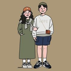 This is Sinana Illustrator based on fashion illustration. Chibi Couple, Manga Couple, Couple Cartoon, Couple Art, Couple Illustration, Character Illustration, Graphic Illustration, Cute Couple Drawings, Cute Drawings