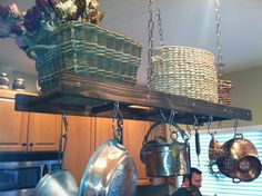 Rustic Ladder Pot Rack, Repurposed Pot Rack