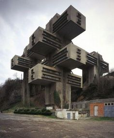 A Jenga-like stack of concrete rectangles looms rather ominously on the outskirts of Tbilisi in Georgia, bringing together Brutalism and Russian constructivism into one strange structure. The 18-story building is lifted off the ground to enable nature to proliferate below it. Georgia Ministry of Highways, Tbilisi.Built as the headquarters for the Georgian Ministry of Highways, it was abandoned for a while before being renovated by the Bank of Georgia in 2007.
