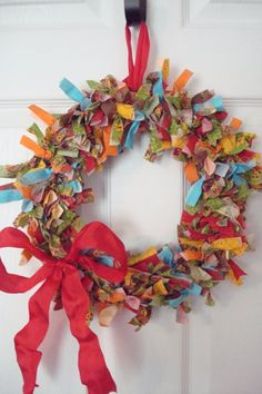 Bright colors- fabric wreath  $25.00