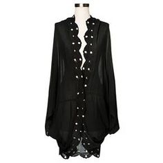 Women's Embroidered Cocoon Kimono Jacket Black - Merona™ : Target
